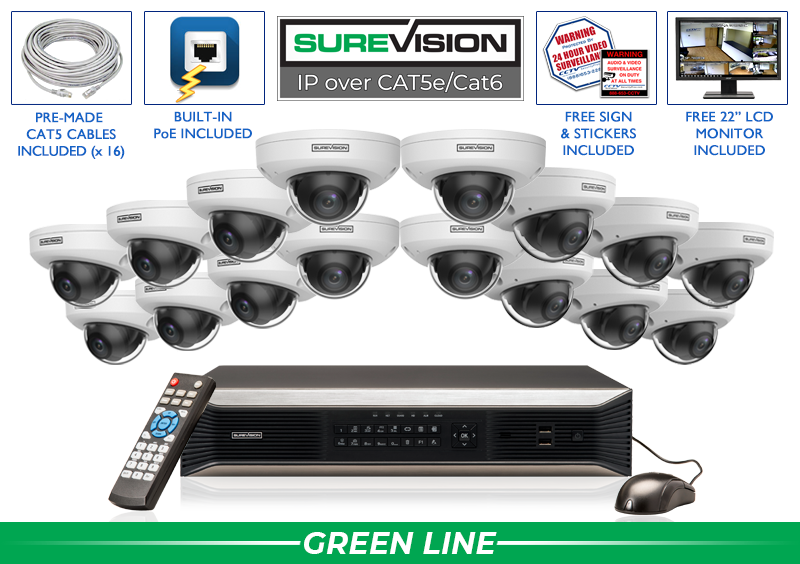 IP 4MP Security Camera System with 16 Audio Cameras  / 16IPWD4