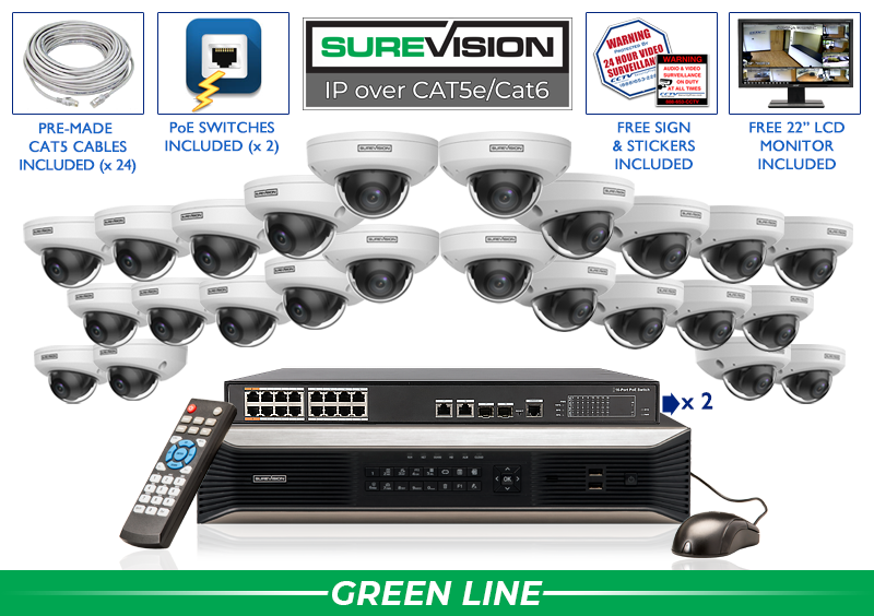 Complete 24 Camera Dome IP Camera System with Microphone and 32 Channel NVR / 24IPWD4