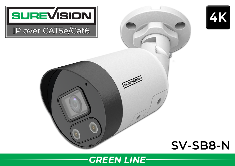 NEW PRODUCT ALERT! SureVision Complete 8 Camera 4K Bullet IP Security System with Full Color at Night and 2 Way Audio / 8IPSB8-N