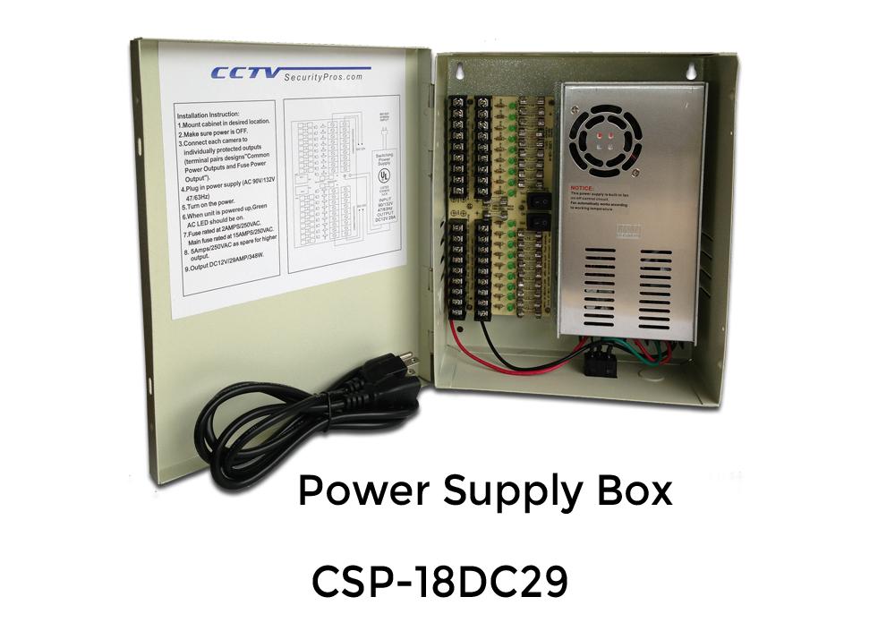 18 Port 12V DC 20 Amp Camera Power Supply Professional Box surveillance Cameras