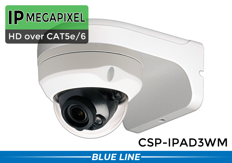 3MP In/Outdoor IP Network IR Dome Camera w/2.8-12mm Motorized zoom Lens Wall Mounting Bracket incld