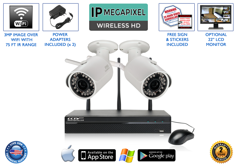 WIRELESS 2 Camera 1080p 3MP Infrared Bullet Security Camera System