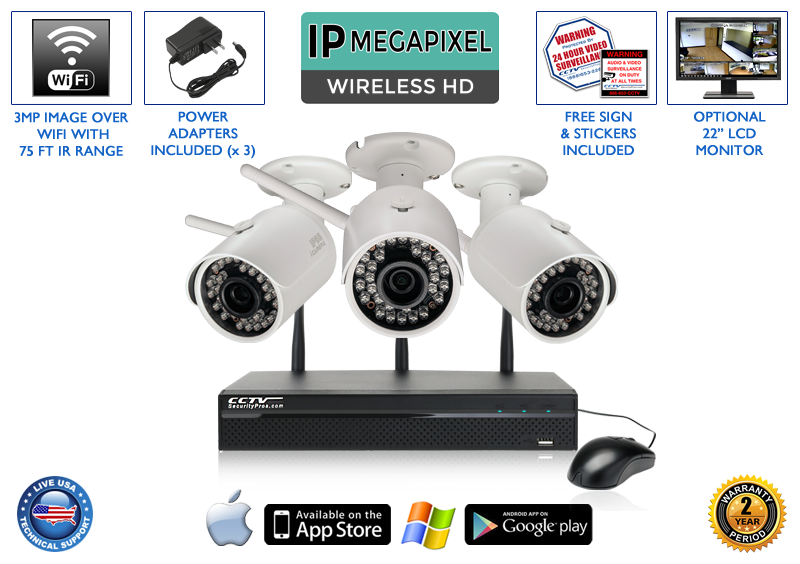 WIRELESS 3 Camera 1080p 3MP Bullet Infrared Security Camera System