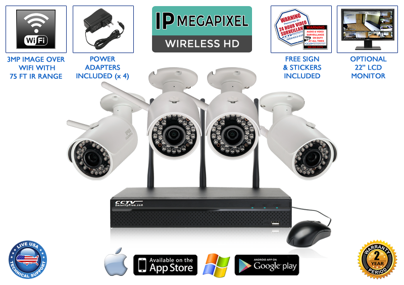 WIRELESS 4 Camera 1080p 3MP Bullet Infrared Security Camera System