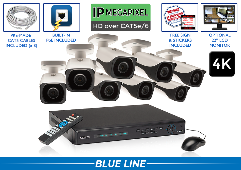 PRO Series Complete 8 (4K) IP Camera System with Free Upgrade to 16 Channel NVR / 8POEB8