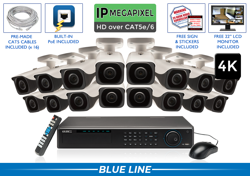 4K ULTRA HIGH DEFINITION 16 Camera Indoor/Outdoor IP 8 Megapixel Bullet IP Camera System