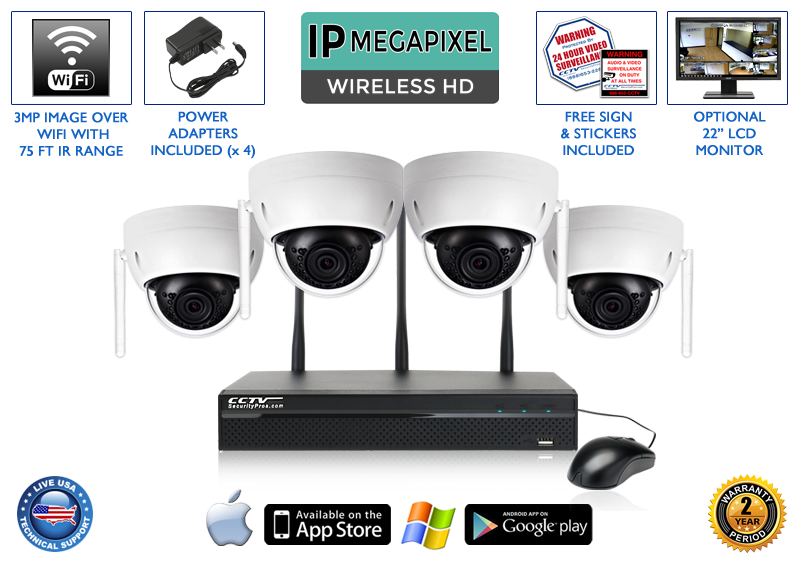 1080p Wireless IP POE Dome Camera System