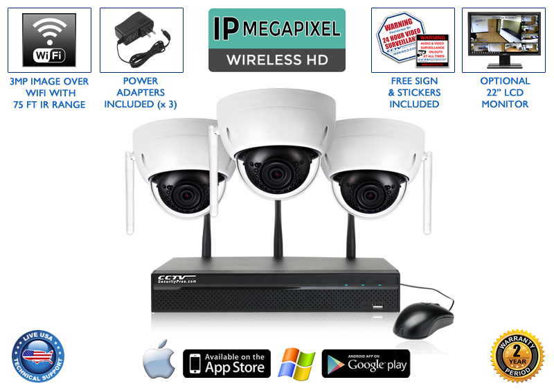 Complete 3 Camera Wireless System with 4 Channel NVR / 3WIRELESSD