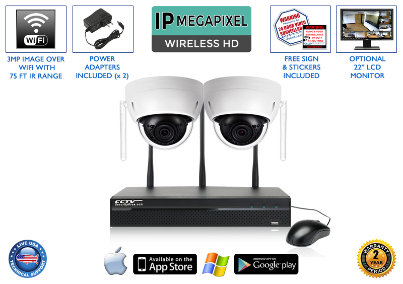 WIRELESS 2 Camera 1080p 3MP Infrared Dome Security Camera System