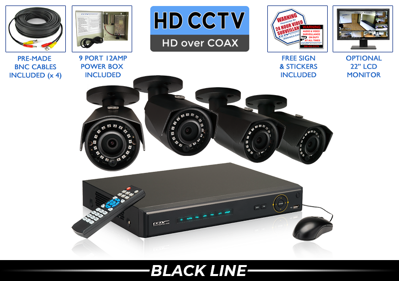 PRO Series Complete 4 HD over Coax Camera System with Free Upgrade to 8 Channel DVR / 4PROCVIBK4-B