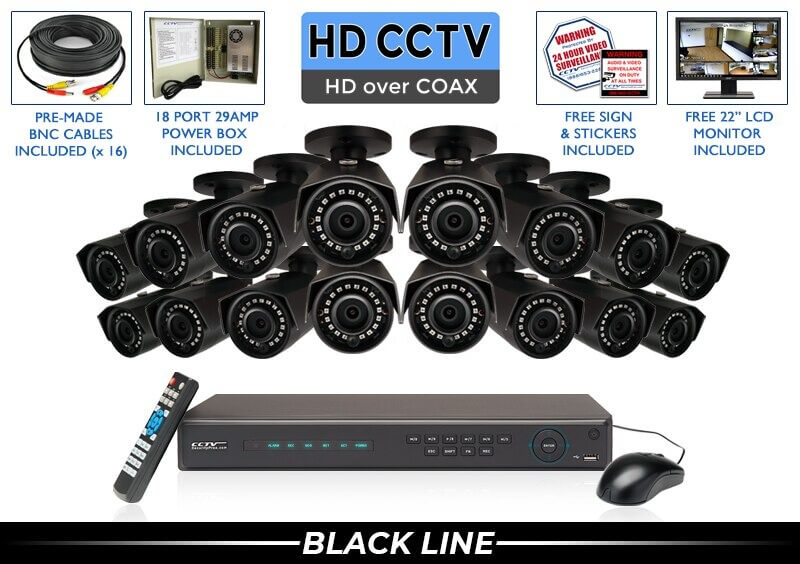 "16 Camera ""PRO SERIES"" SUPER HIGH DEFINITION 4 Megapixel HD Full 1080p Indoor/Outdoor Black Infrared Bullet Security Camera System with 100 Foot Night Vision"