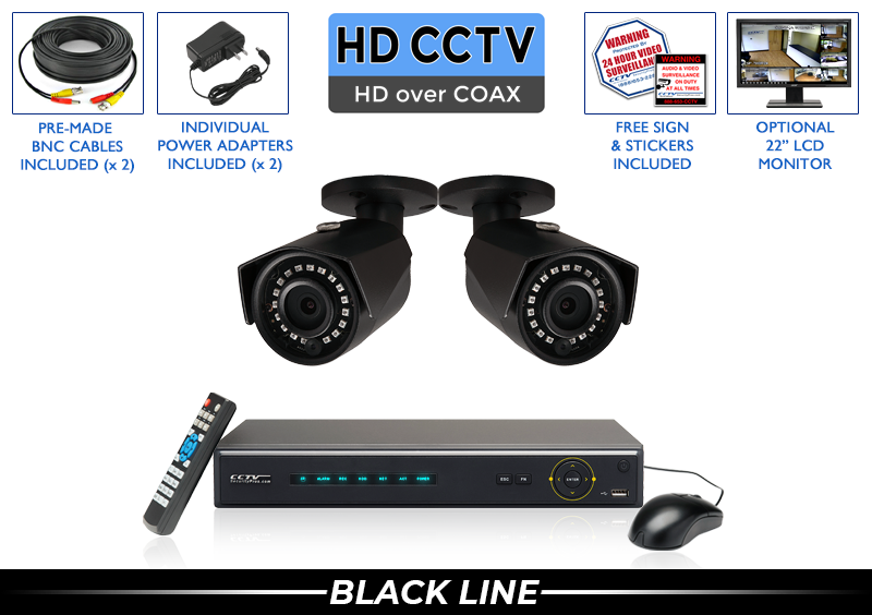 Bullet Security Camera System with 2 Night Vision HD Cameras / 2PROCVIB5-B