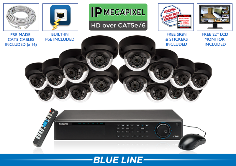 (4MP (2K) 100 Foot Night Vision) SUPER HIGH DEFINITION 16 Indoor/Outdoor Infrared Dome IP Security Camera System (Black Base)