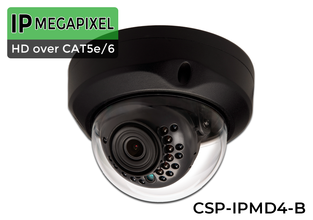 SUPER HIGH DEFINITION 4MP 24 Indoor/Outdoor INFRARED Dome 4 Megapixel IP Security Camera System (Black Base)