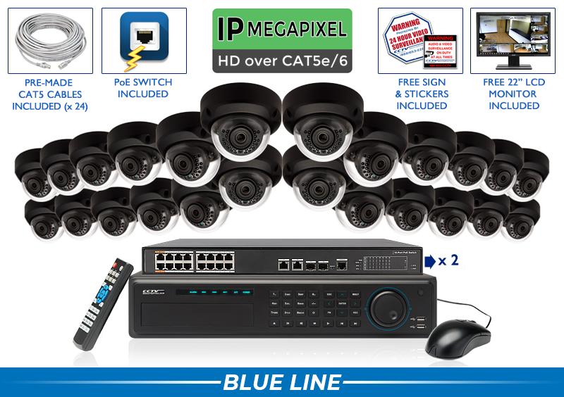 SUPER HIGH DEFINITION 4MP 24 Indoor/Outdoor INFRARED Dome 4 Megapixel IP Security Camera System (Black Base)
