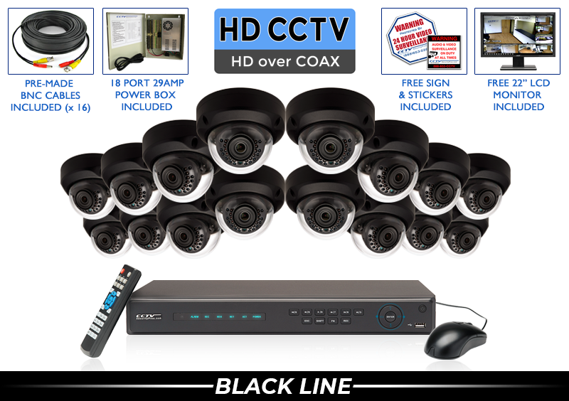 """""""PRO SERIES"""" 16 Camera SUPER HIGH DEFINITION 4 MP HD Full 1080p Indoor/Outdoor Infrared Dome Security Camera System with 100 Foot Night Vision (Black Base)"""
