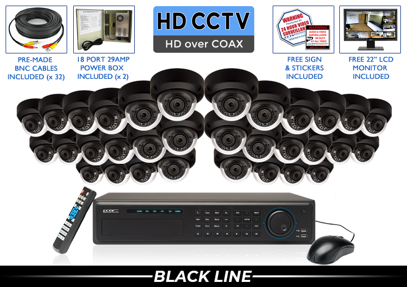 """32 Camera """"EXTREME SERIES"""" Super HIGH DEFINITION 4 Megapixel HD Indoor/Outdoor Infrared Dome Vandal Proof Security Camera System with 100 Foot Night Vision"""