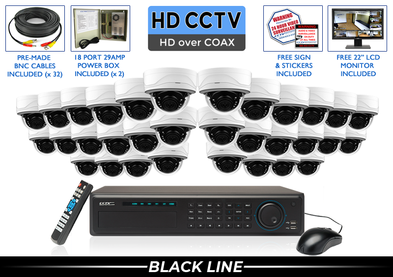 Security Camera System with 32 HD Dome Surveillance Wide Angle Cameras / 32XTRCVIMD5
