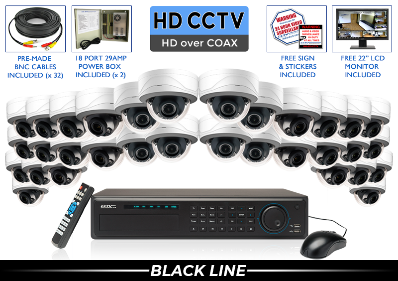 New Security Camera System with Vandal Dome HD Adjustable Lens Cameras / 32XTRCVIAD5