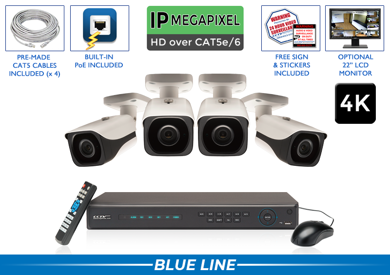 4K 8 Megapixel IP Camera System with Up to 164 Foot Night Vision / 4POEB8