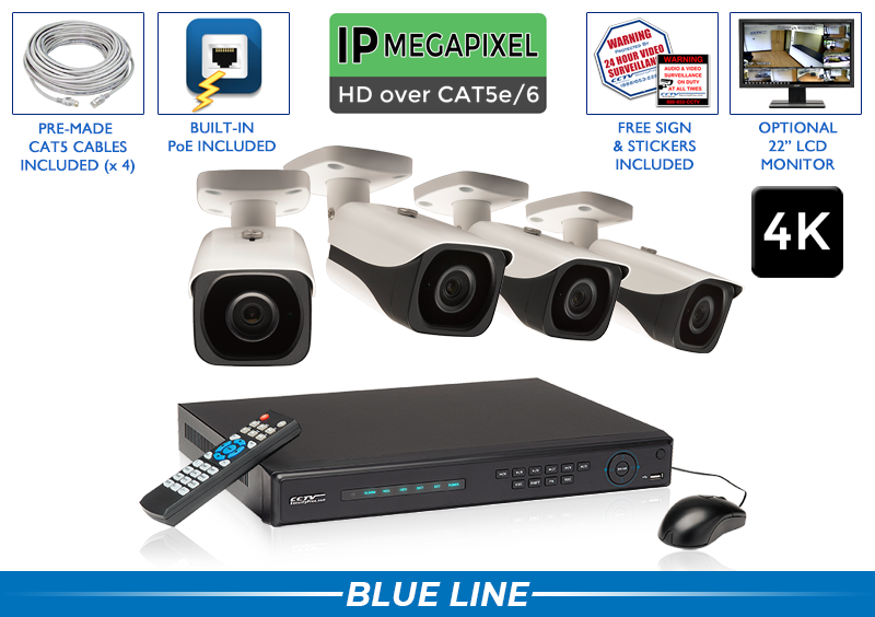 PRO Series Complete 4 (4K) IP Camera System with Free Upgrade to 8 Channel NVR / 4POEB8