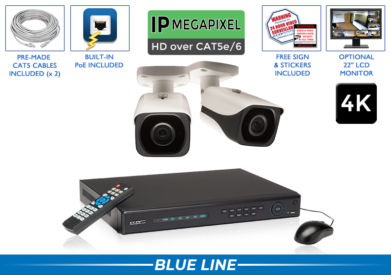 PRO Series Complete 2 (4K) IP Camera System with 4 Channel NVR / 2POEB8