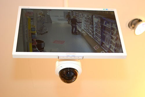 a security camera with screen