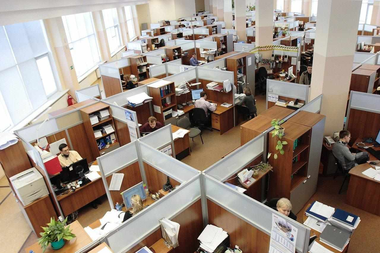 Birds eye view of employees working in an office