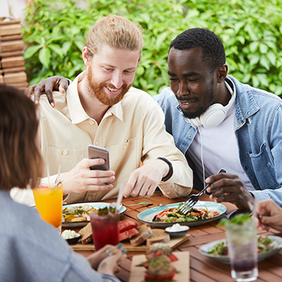 friends meeting at restaurant