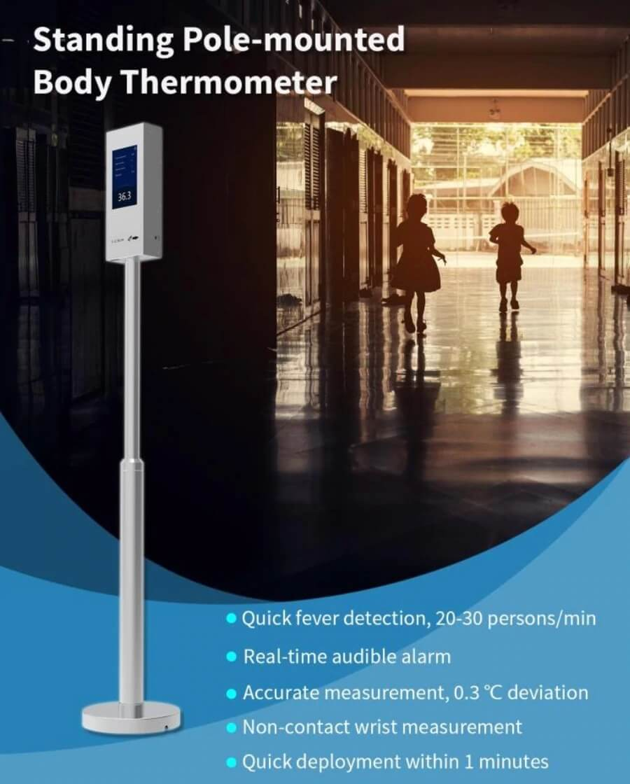 Standing Pole-Mounted Body Thermometer