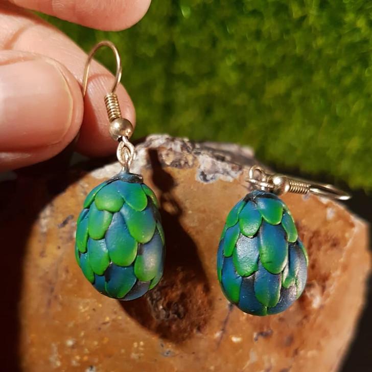 Green Dragon Egg Earrings