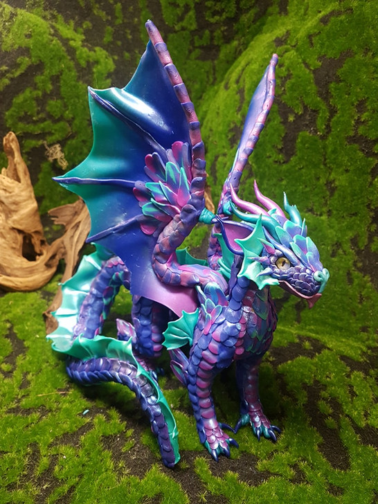 Blues and Purples Dragon Sculpture