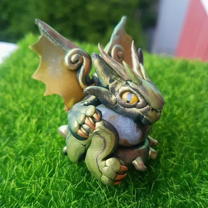 Crystal Dragon Moss Agate Protector