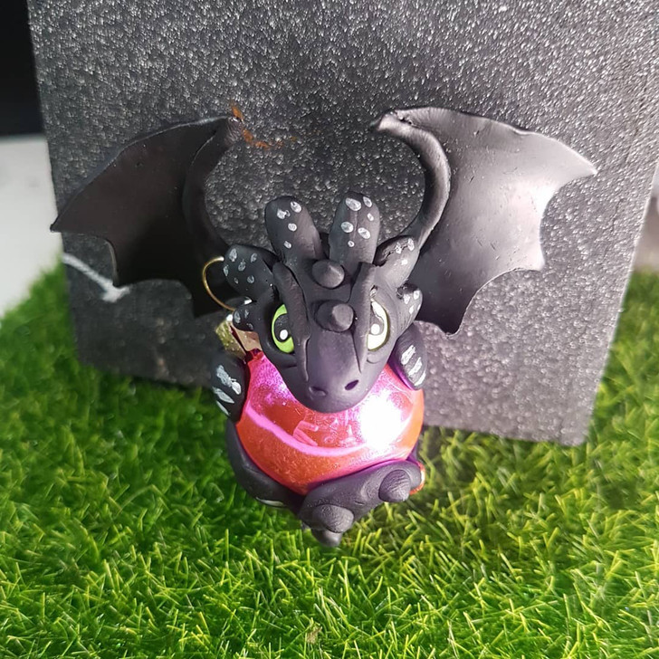 Toothless Dragon Ornament Pink