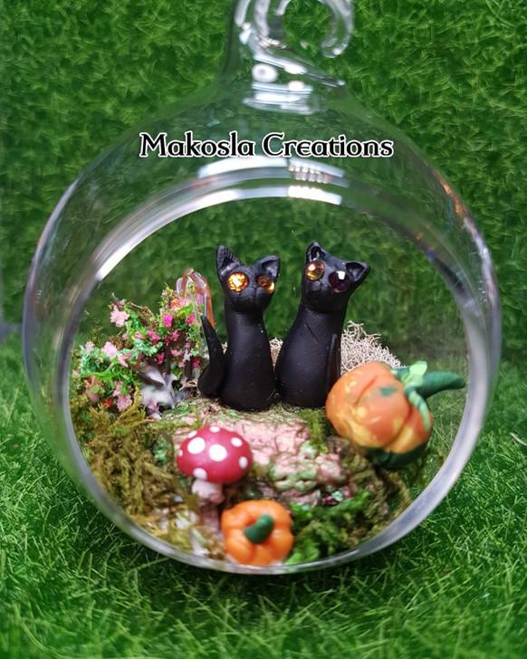 Couple Cats Terrarium Ornament