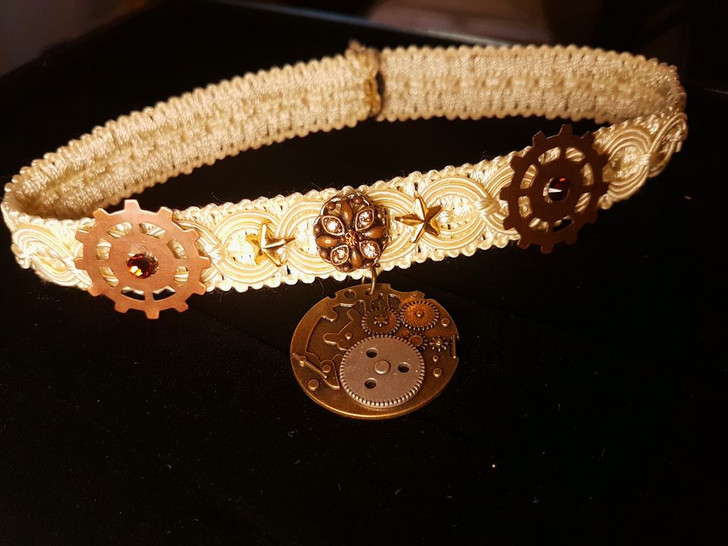 Steampunk Gears Ivory Lace Choker  Necklace