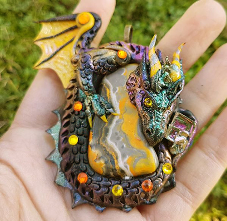 Bumble Bee Jasper Dragon Pendant