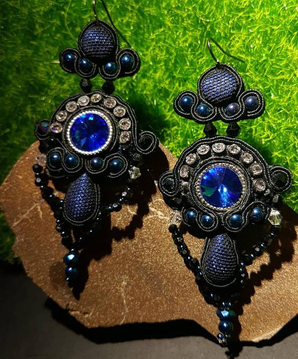 Black and Blue Soutache Earrings