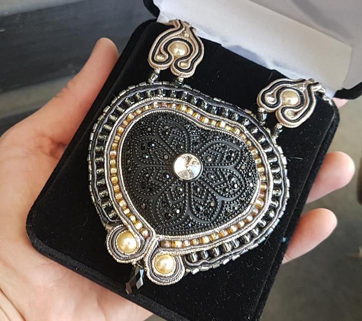Black Heart Soutache Necklace
