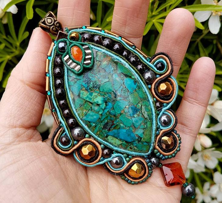 Malachite and Copper Soutache Pendant
