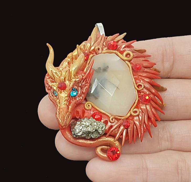 Dendrite Opal Dragon Pendant