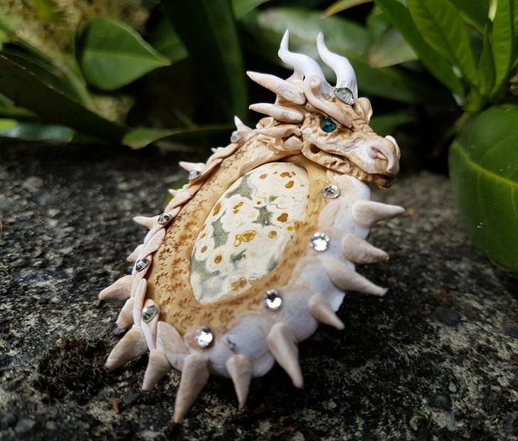 Jasper Ivory  Dragon Pendant