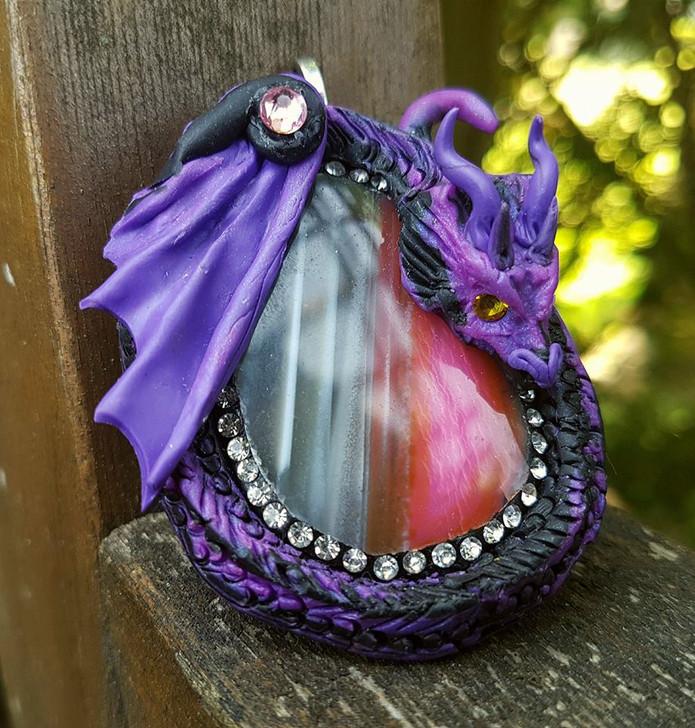 Agate Purple Grey Dragon Pendant