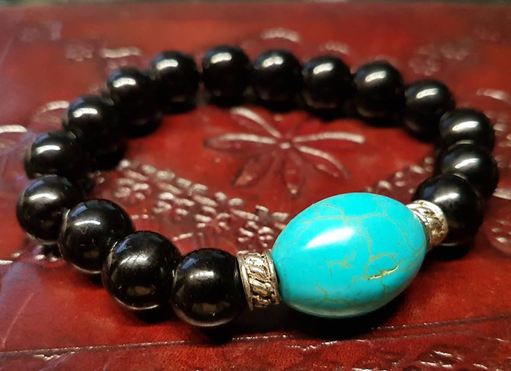 Turquoise Howlite and Obsidian Bracelet (S)