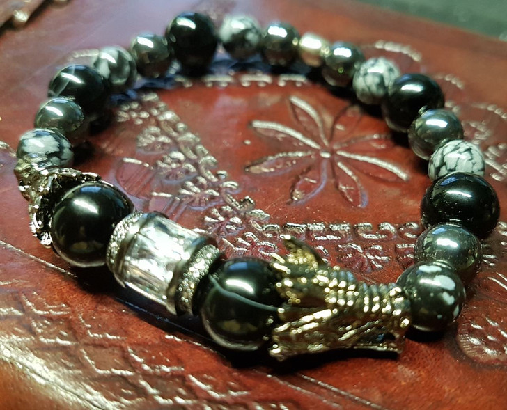 Obsidian Hematite and Zirconia Dragon Bracelet (M)
