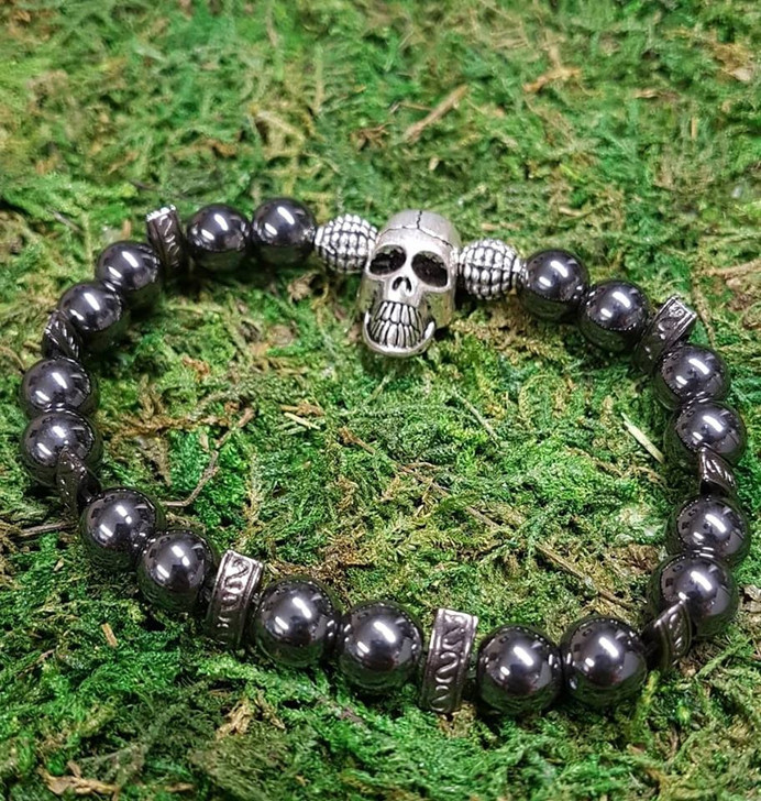 Hematite Skull Dragon Bracelet (M)