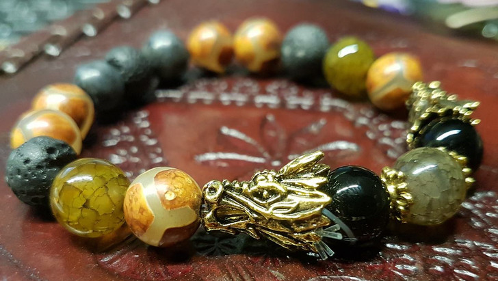 Agate and Lava stones Dragon Bracelet Golden  (S-M)