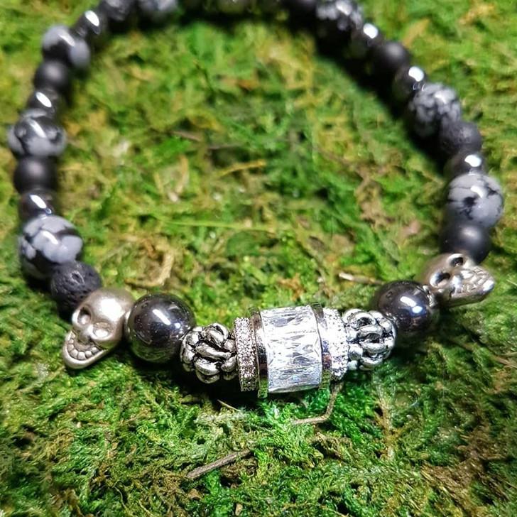 Obsidian Onyx and Lava Stones Bracelet (M)