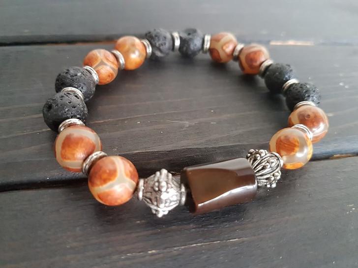 Agate and Lava Stones Bracelet (L)