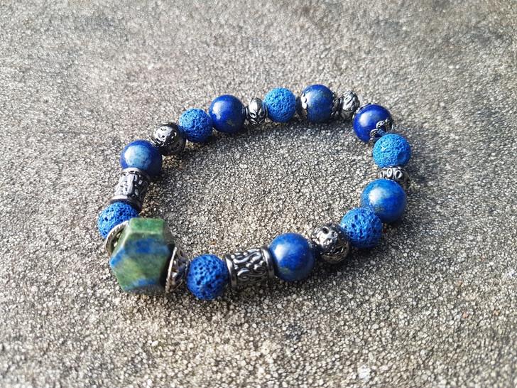 Lapis Lazuli & Agate Bracelet (M-L)